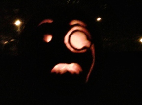 Old Man Monacle Jack-o-Lantern Carved Pumpkin