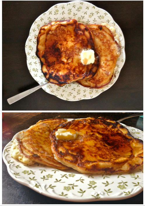 This is a recipe for basic pancakes made with flour, butter, milk, egg, and other ingredients. Serve these pancakes with butter and syrup.