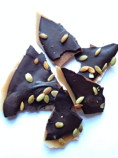 How to Make Chocolate Covered Toffee with Pumpkin Seeds